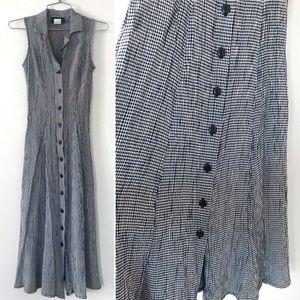 Vintage 1990's gingham dress rayon sleeveless